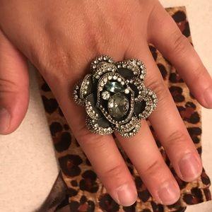 Full bloom crystal flower ring